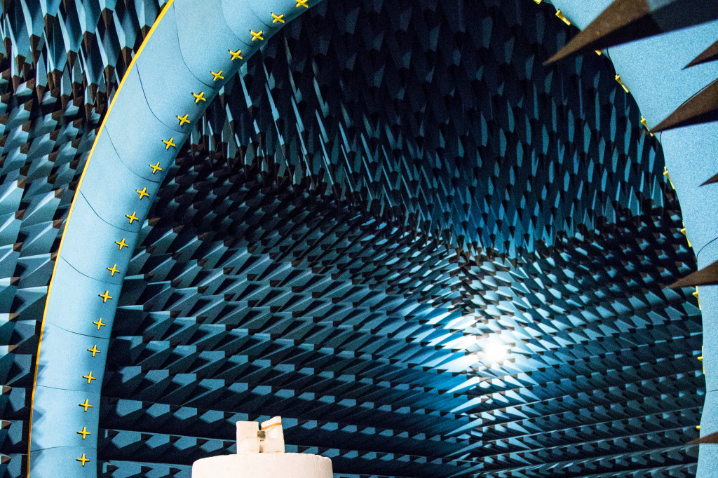 "Measuring the efficiency and radiation pattern in an anechoic measurement chamber. (the ""moon landscape"" interior is used to spread any echoes as thinly as possible)."