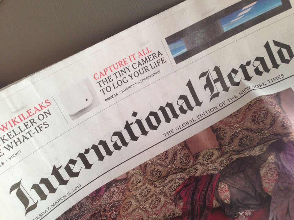 Memoto on the cover of International Herald (who didn't interview us...)