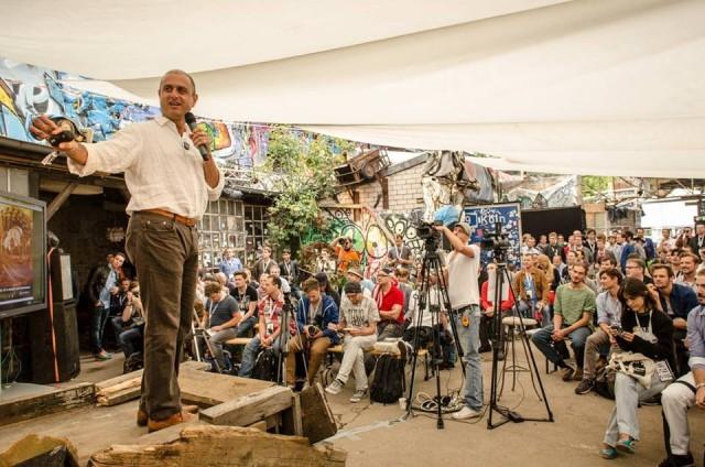 Evan speaking at Pirate Summit in Germany