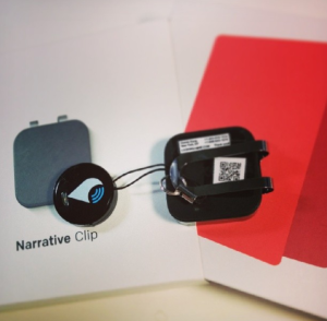 Our Narrative Clip, equipped with contact info QR and a location finding gadget