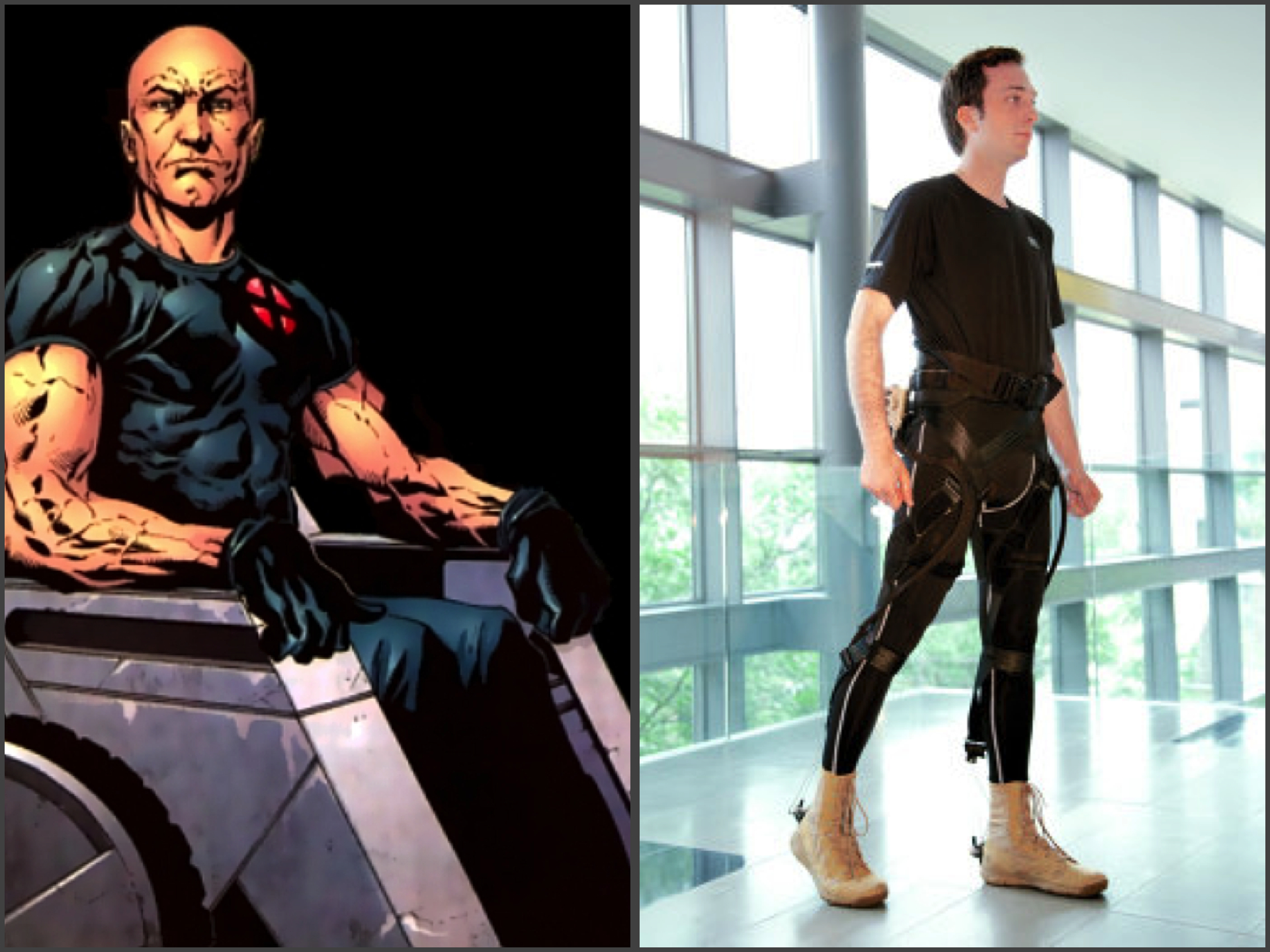 Professor X walks