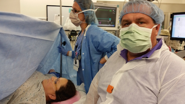 Dad with Narrative Clip at c-section
